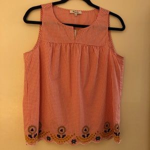 NWT Madewell Embroidered Gingham Tank Top Medium
